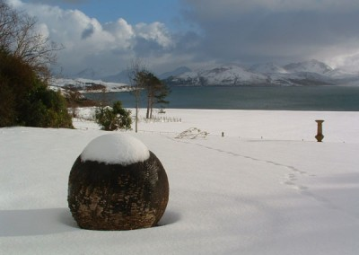 Snow scene at Raasay House